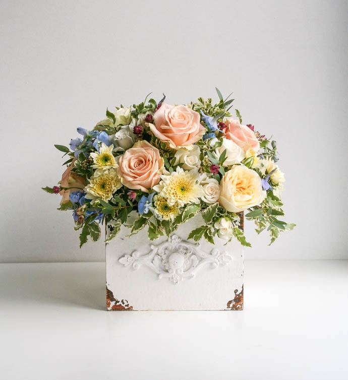 Vintage style Mothers Day roses and delphinium, by Garland