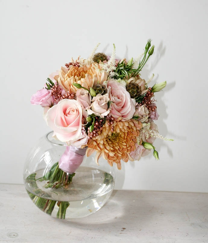 Gold and blush antique inspired brides bouquet, created by London florist Garland
