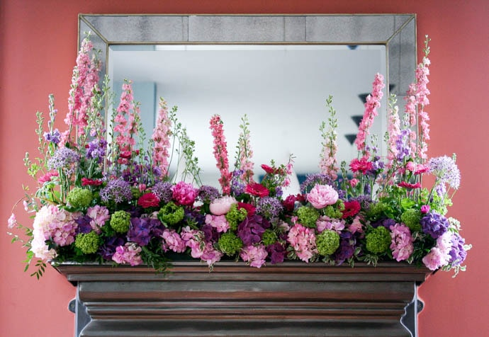 A cottage garden mantlepiece for Chelsea Flower Show, created by London florist Garland