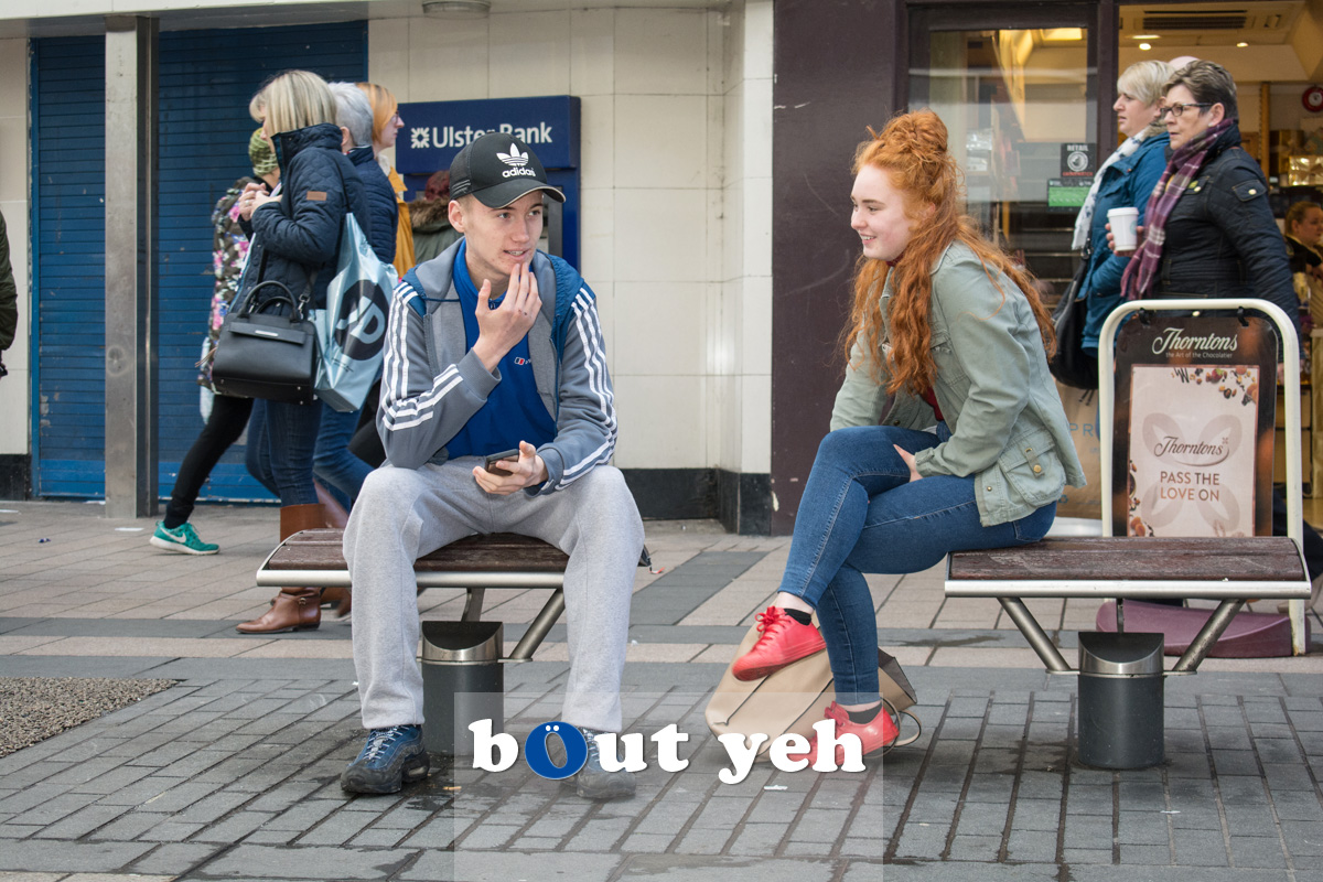 Young couple, Cornmarket, Belfast. Photo 2715.
