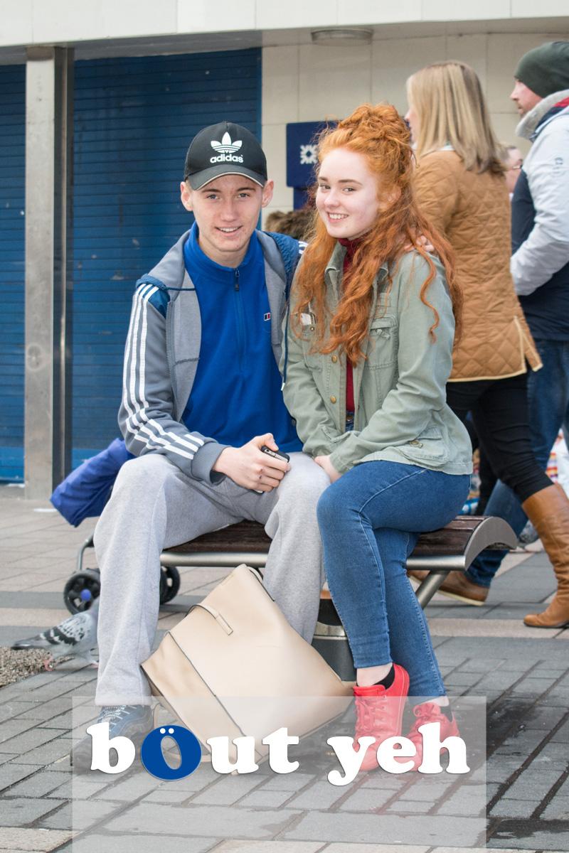 Young couple, Cornmarket, Belfast. Photo 2720.