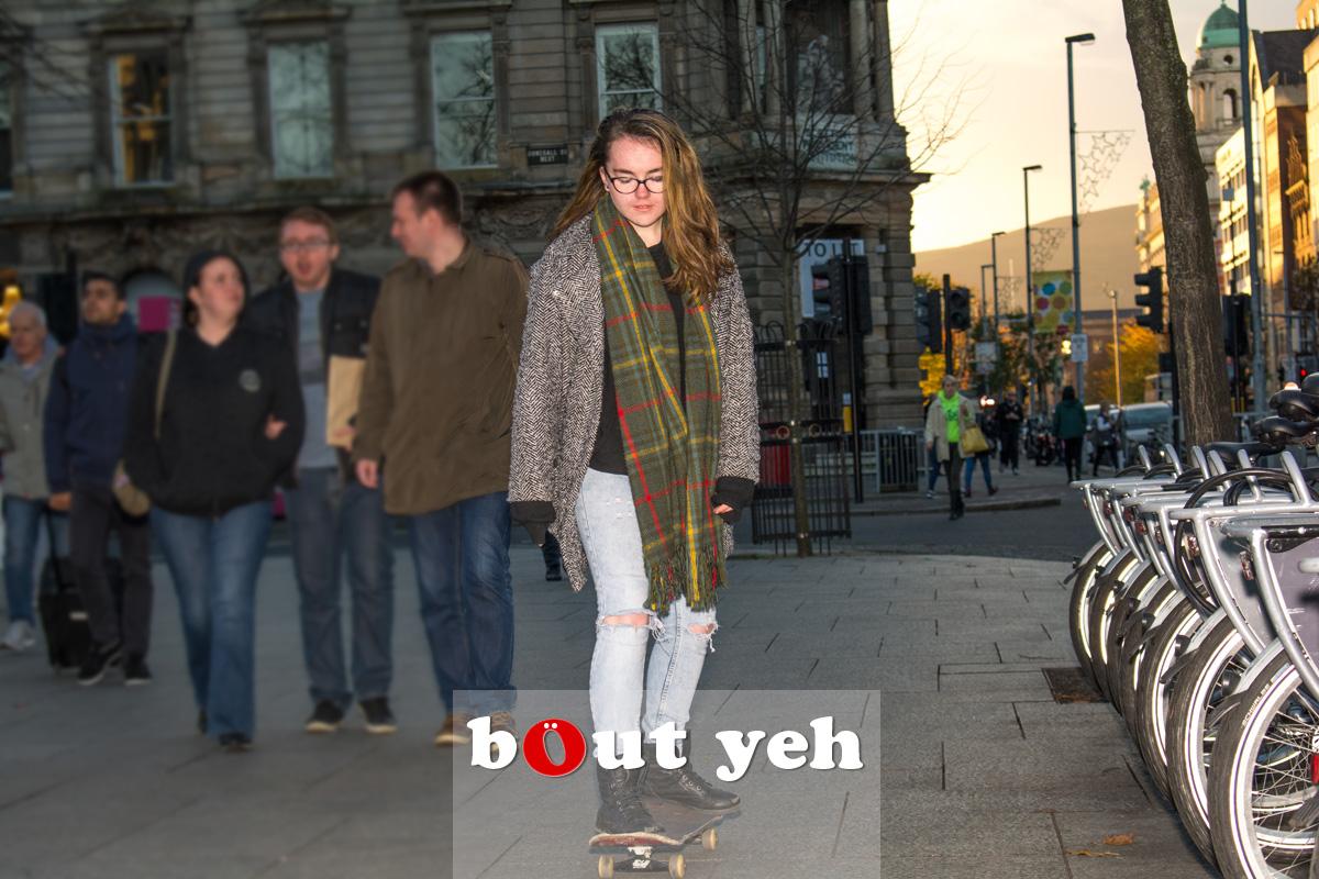 Skateboarding girl, Belfast. Photo 2540.