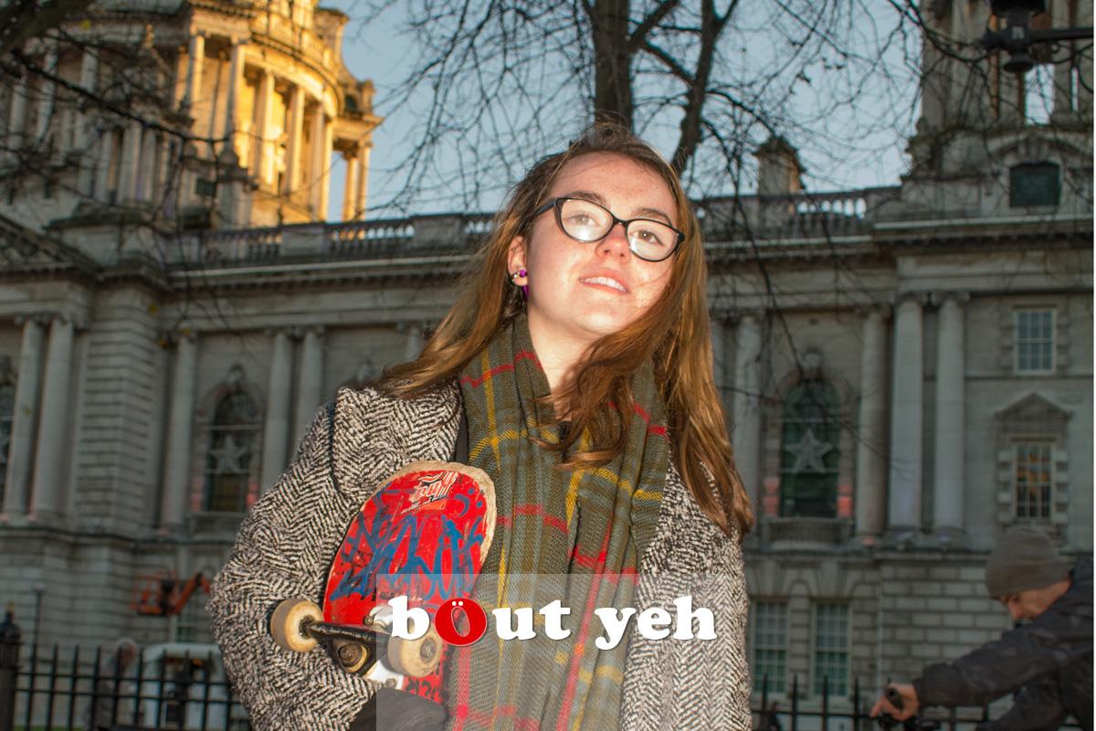 Skateboarding girl, Belfast. Photo 2543.