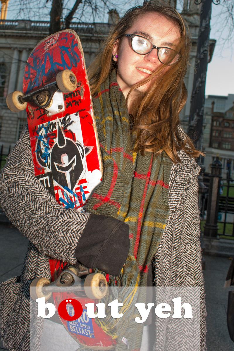 Skateboarding girl, Belfast. Photo 2546.