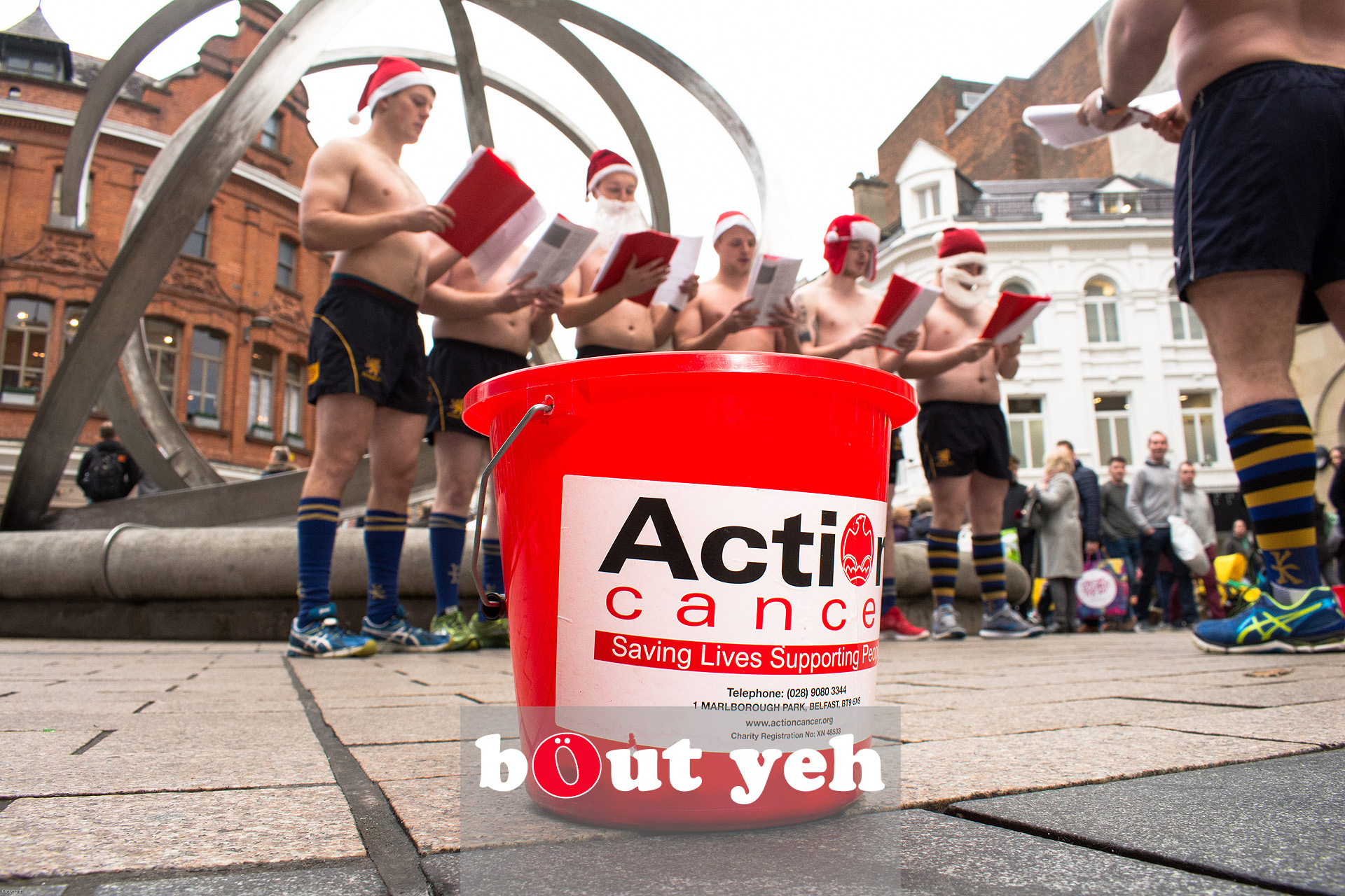 Bangor Rugby Club members singing Christmas Carols for charity in Belfast. Photo 3204.
