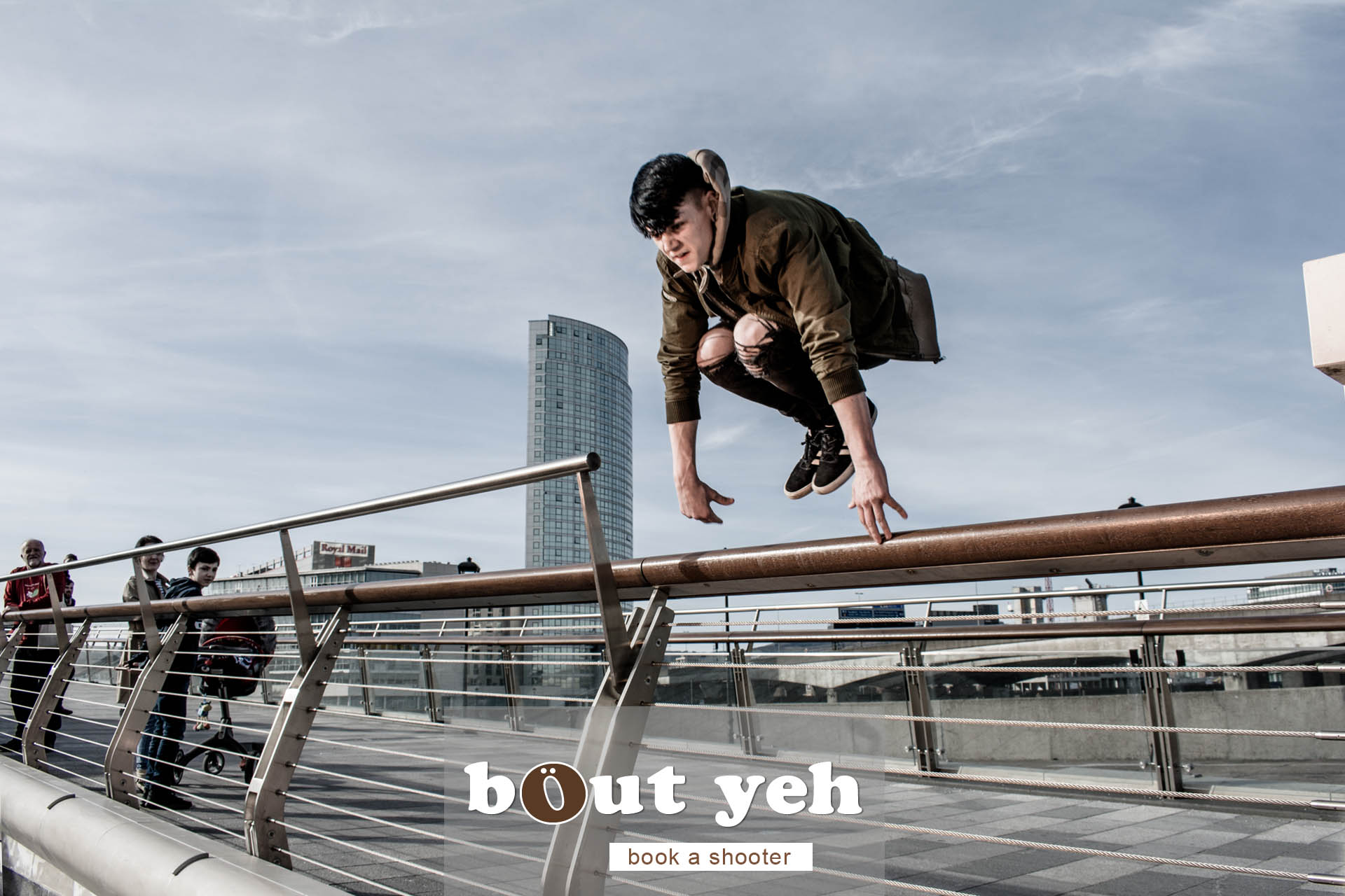 Owen doing Parkour training, Lagan Weir Bridge, Belfast - photo 5011 including call to action.