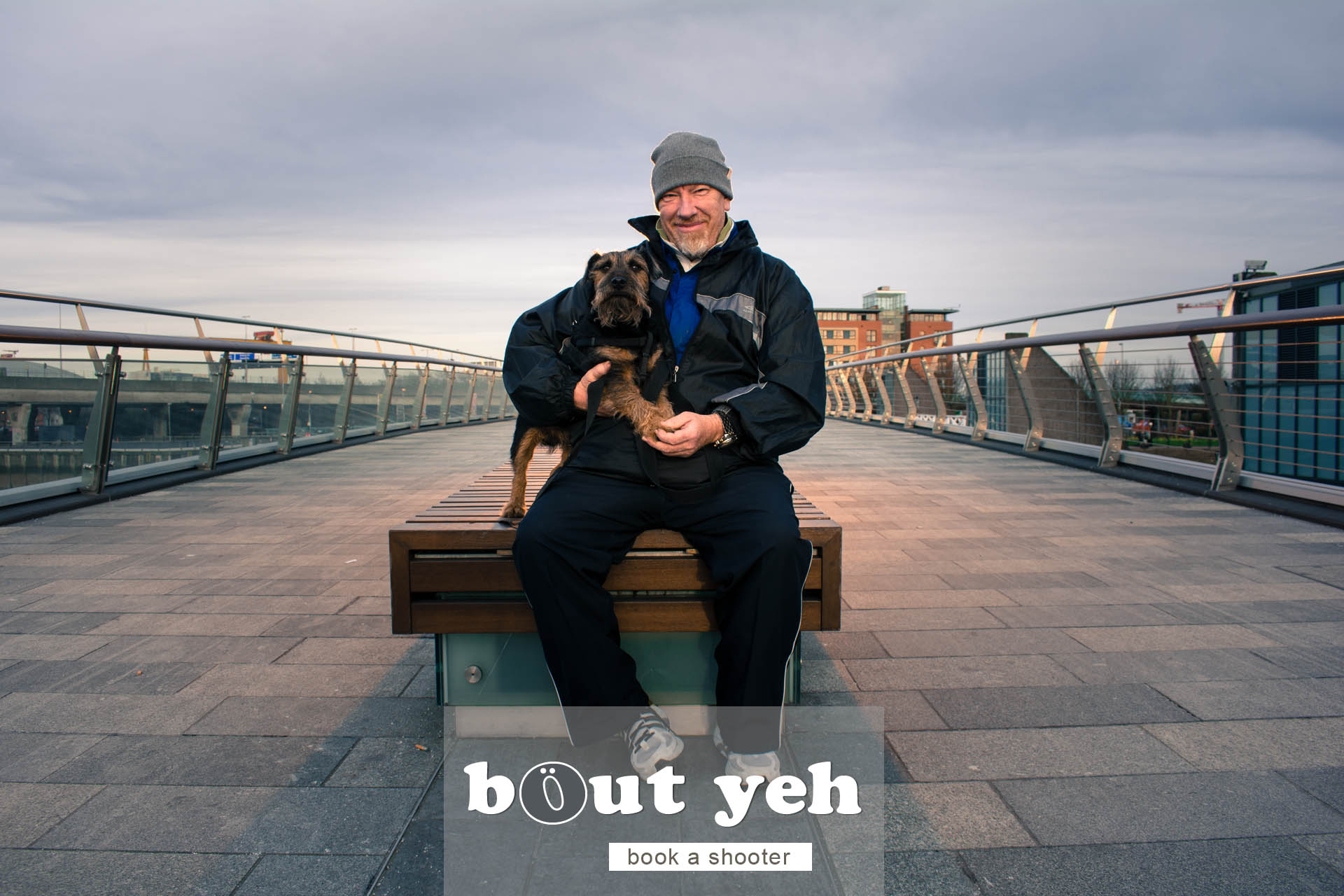 Alan and dog Jedediah, Lagan Weir Bridge, Belfast - photo 5098.