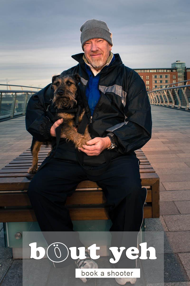 Alan and dog Jedediah, Lagan Weir Bridge, Belfast - photo 5099.