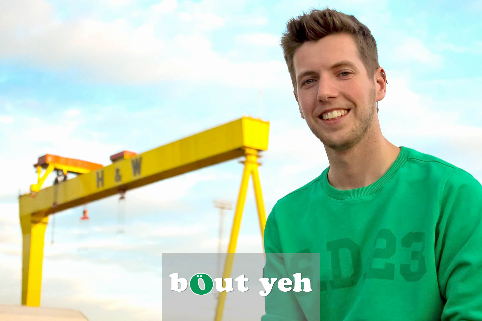 Ryan pictured in front of Harland and Wolff shipyard, Belfast.