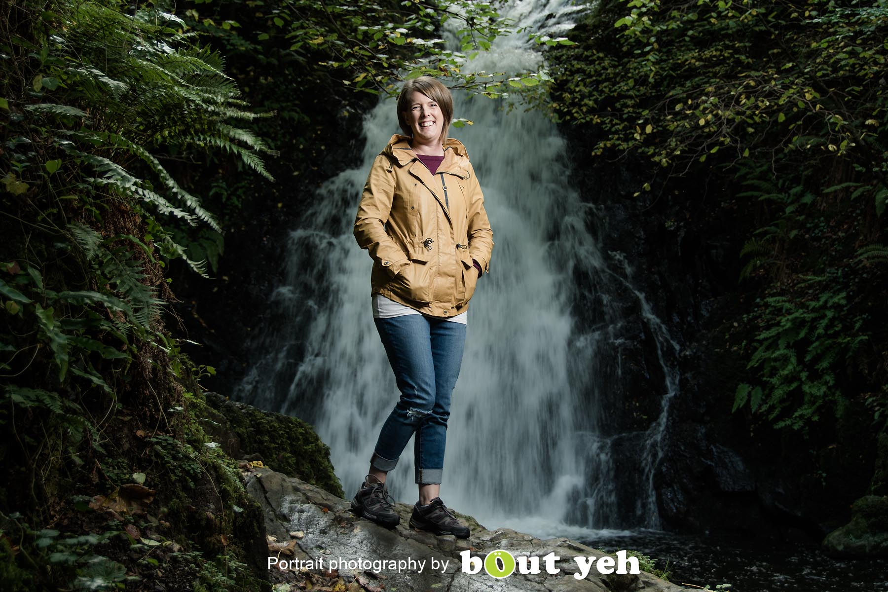 Sian, at Gleno waterfall, Northern Ireland - photo 8979.