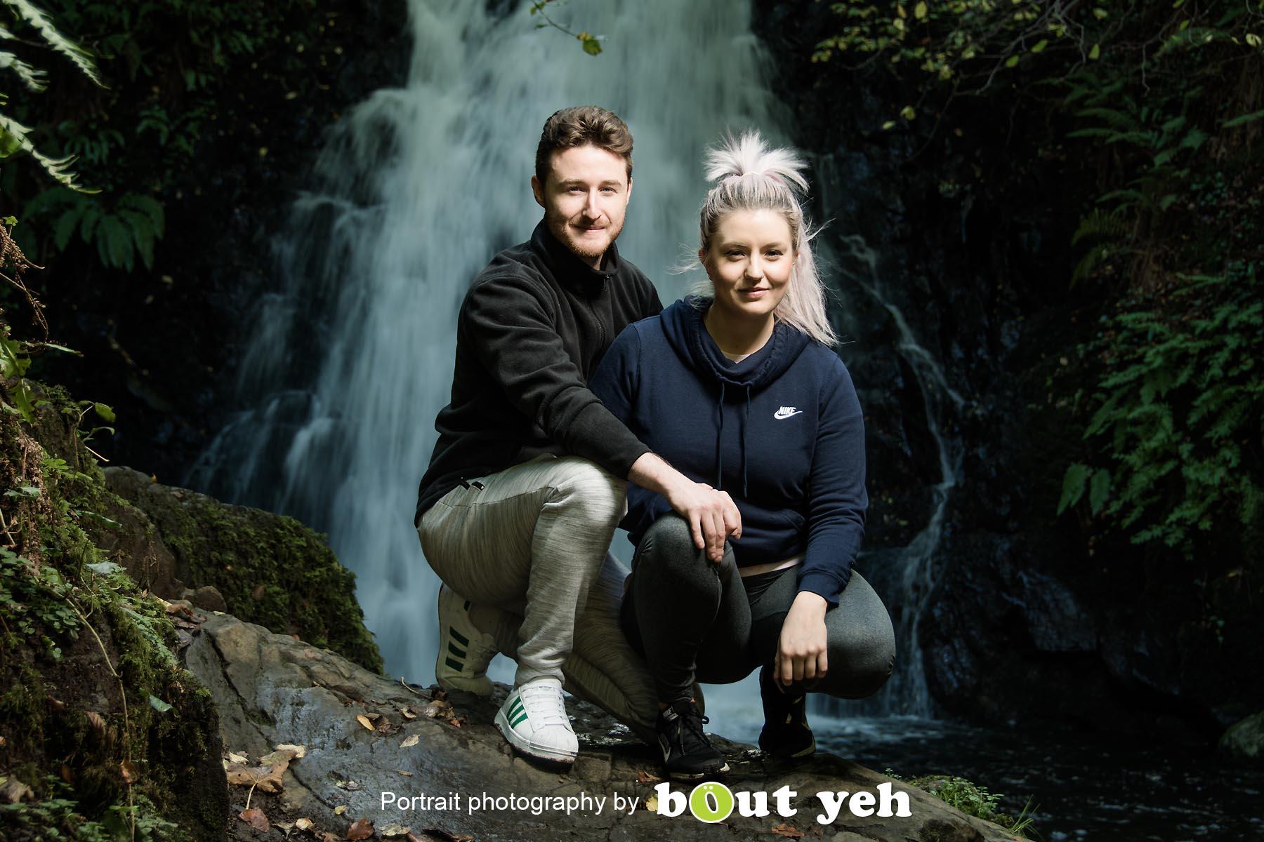 David and Joanna, at Gleno Waterfall, Northern Ireland - photo 9004.