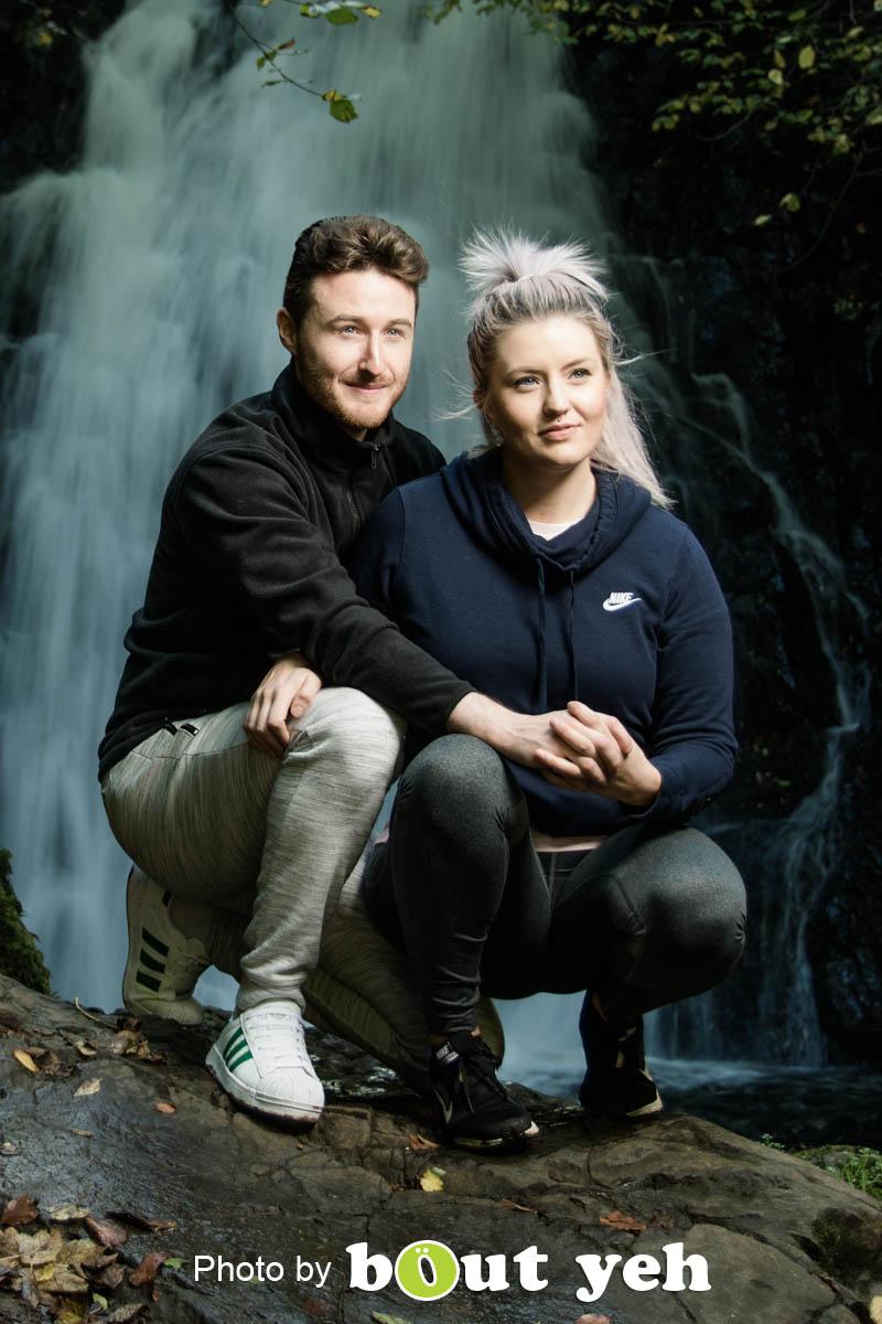 David and Joanna, at Gleno Waterfall, Northern Ireland - photo 9008.