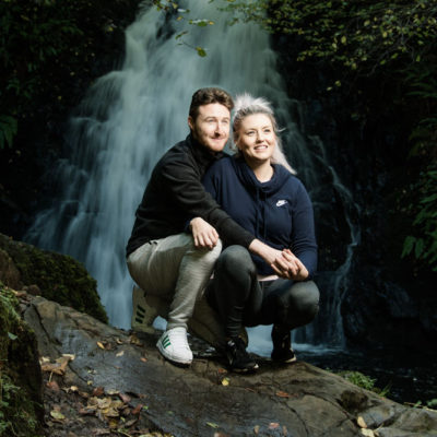 David and Joanna, at Gleno Waterfall, Northern Ireland - photo 9011. Featured image.