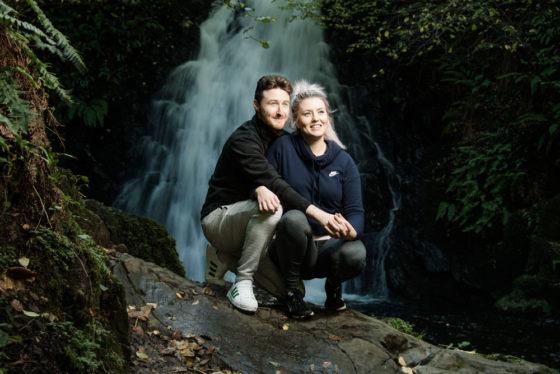 David and Joanna, at Gleno Waterfall, Northern Ireland - photo 9011. Featured image.