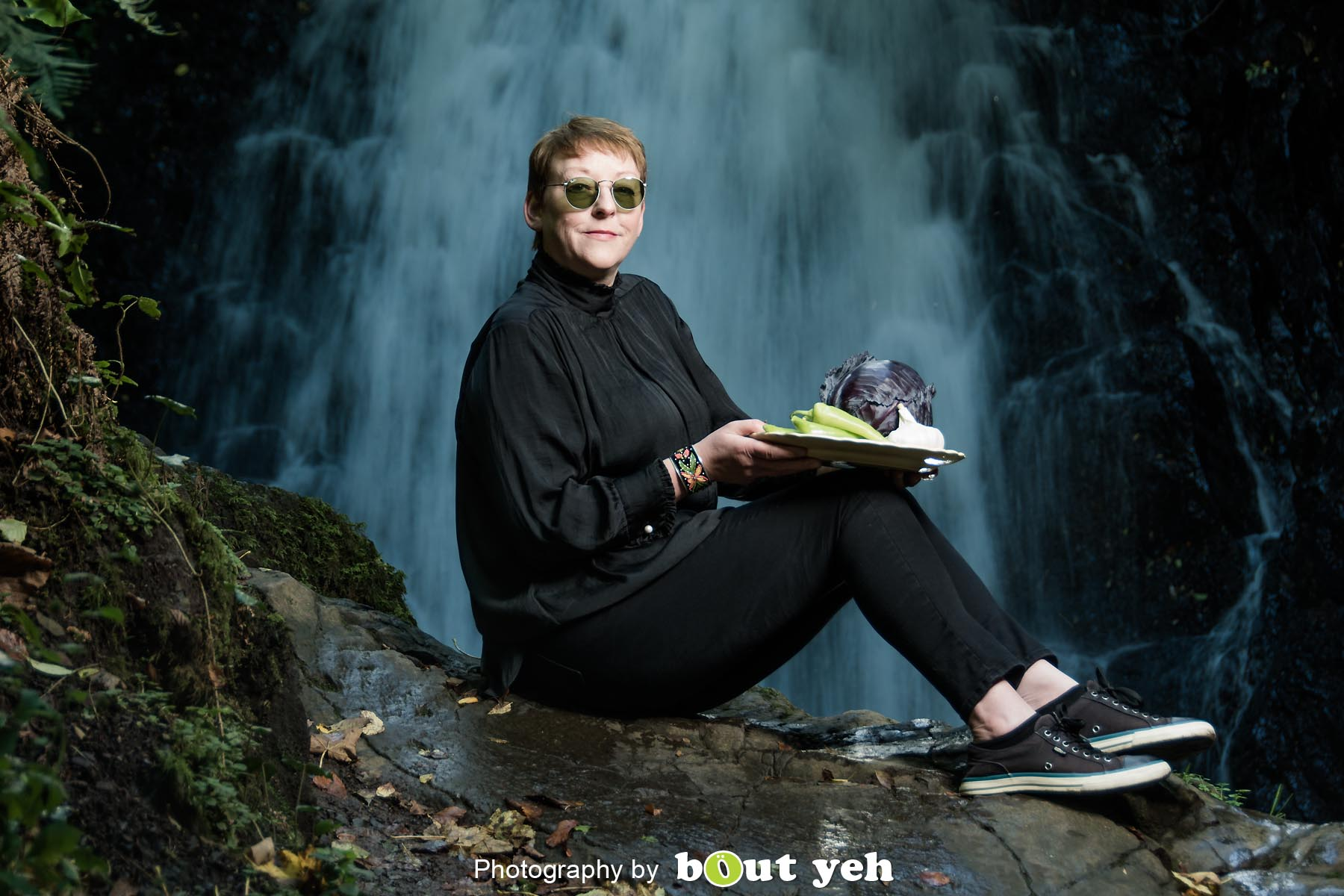 Kim, at Glenoe Waterfall, Northern Ireland - photo 9034.