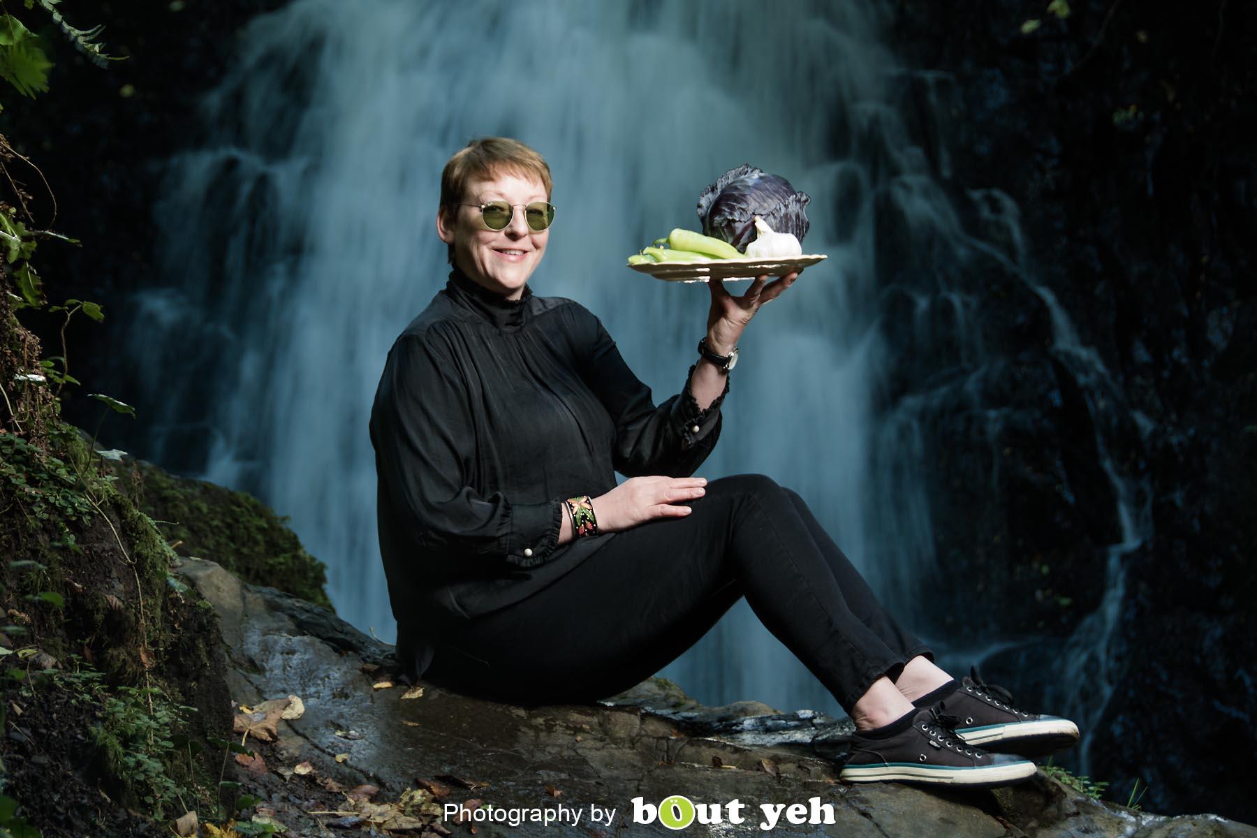Kim, at Glenoe Waterfall, Northern Ireland - photo 9038.