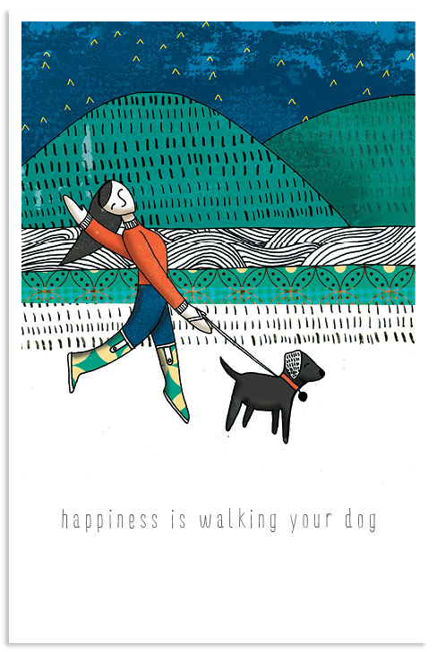 Happiness is walking your dog illustration