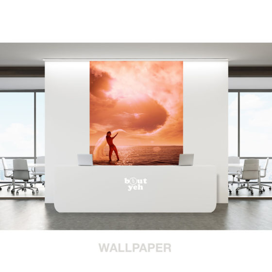 Nude female pulls clouds from sky, photo wallpaper.