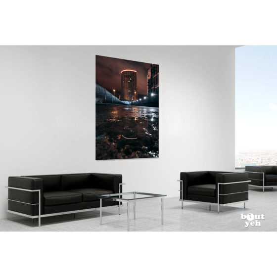 Obel Tower Belfast at Night by rskb - photographic print in room setting.