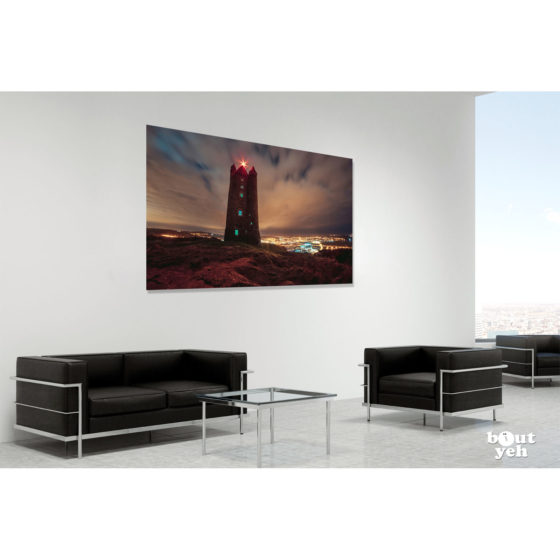 Scrabo Tower at Night Northern Ireland by rskb - photographic print in room setting.