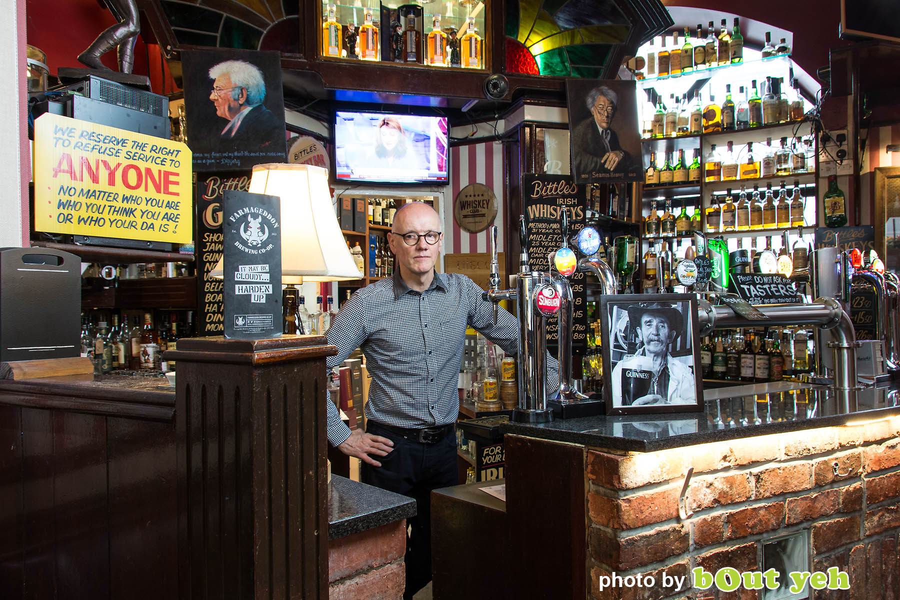 John Bittles at Bittles Bar by Bout Yeh photographers Belfast - Photo 5004. Editorial feature about John Bittles, owner of Bittles Bar, Belfast.
