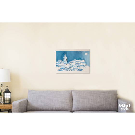 Italian landscape painting, Milan Blue. Painting shown in room setting.