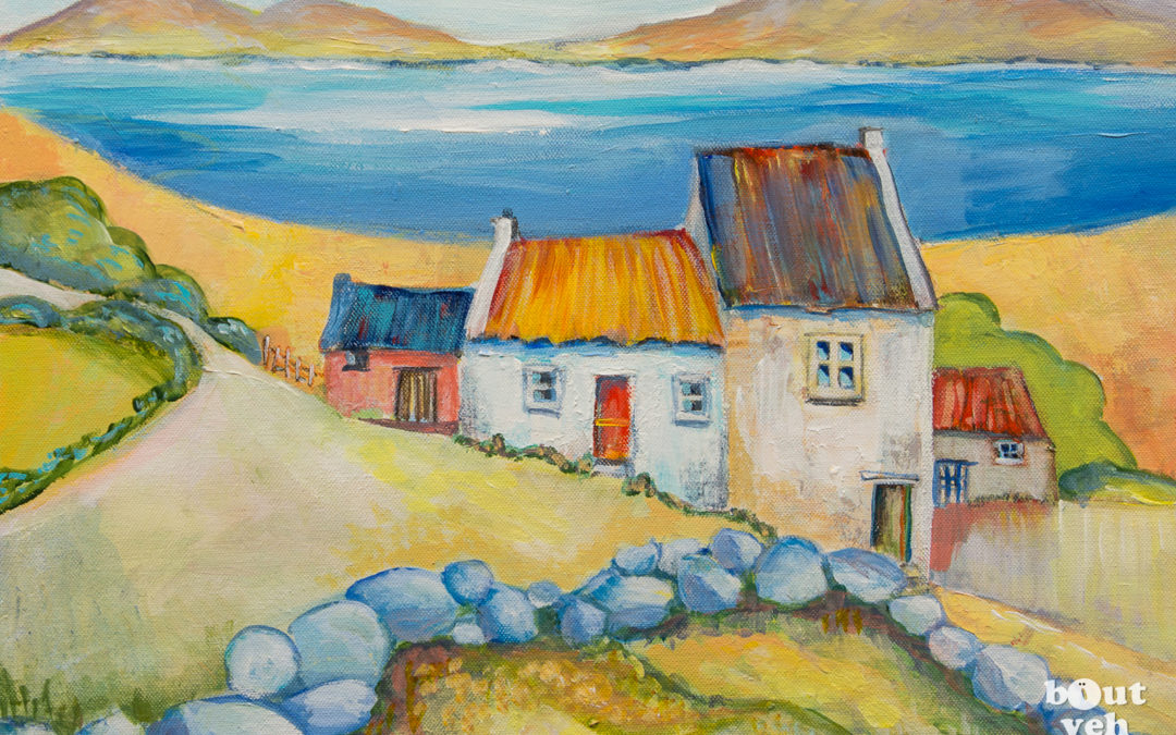 Irish landscape painting – Stone Wall