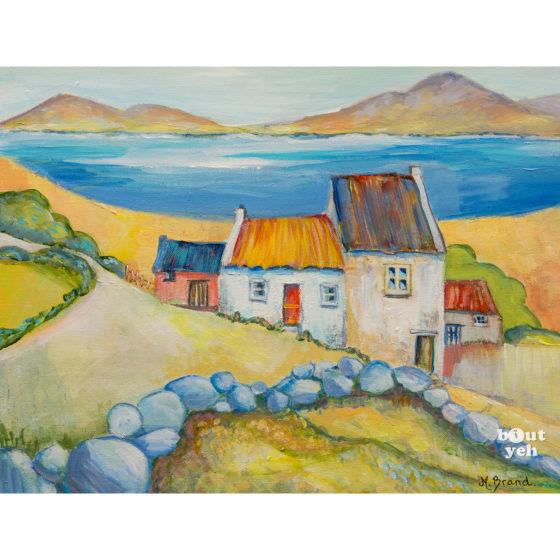 Irish landscape painting, Stone Wall, by Irish artist Margaret Brand.
