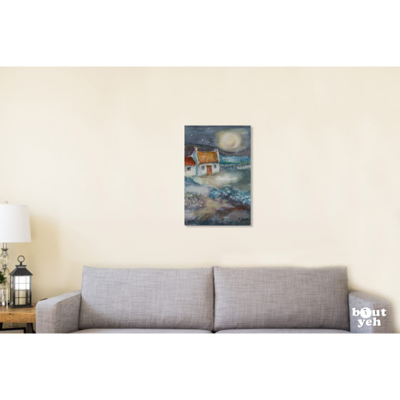 Irish landscape painting, Starry Night, by Irish artist Margaret Brand. Painting shown in room setting.