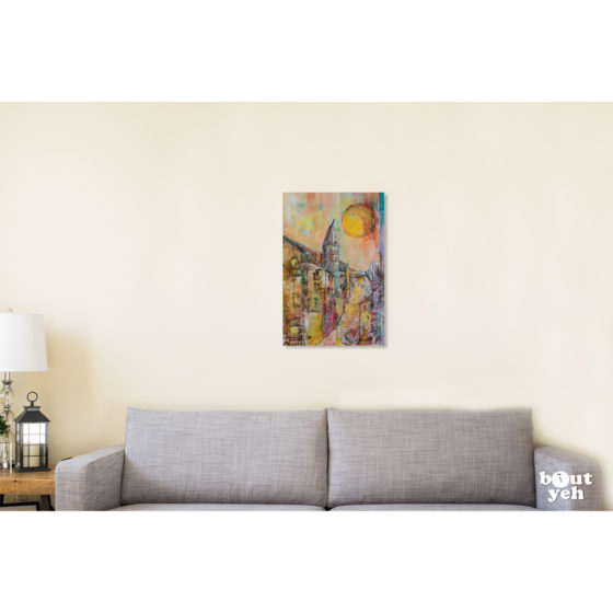 French landscape painting for sale - Midi. Painting in room setting.