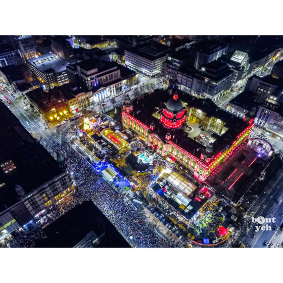 Christmas crowds at Belfast City Hall, aerial photo - Bout Yeh photographers Belfast photographic print for sale.