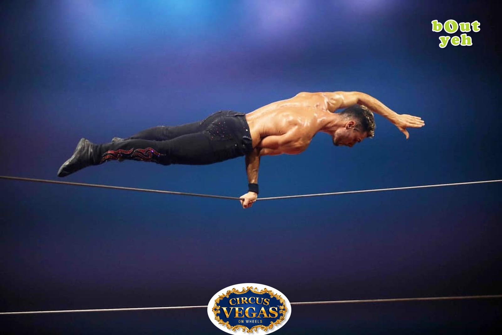 Social Media Marketing Consultants Belfast - Circus Vegas campaign photo of high wire performer. Photo by Bout Yeh used in a Social Media Marketing campaign across Bout Yeh's Social Media platforms for Circus Vegas On Wheels Ireland