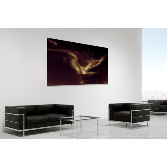 Freesoar - limited edition photographic print in room setting of birdlike cloud formation over Newtownabbey, Northern Ireland