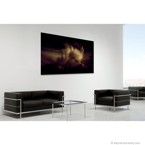 Loverly - limited edition photographic print in room setting of clouds over Rathcoole, Northern Ireland