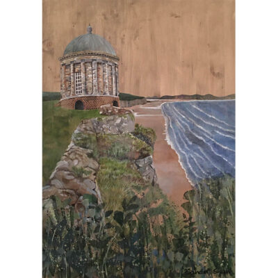 Painting for sale of Mussenden Temple by Irish artist Sandra Shaw entitled Above The Waves, acrylic on wood