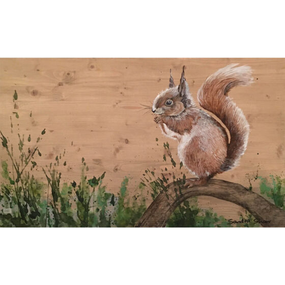 Painting for Sale by Irish artist Sandra Shaw entitled Hippity Hop, acrylic on Wood Painting