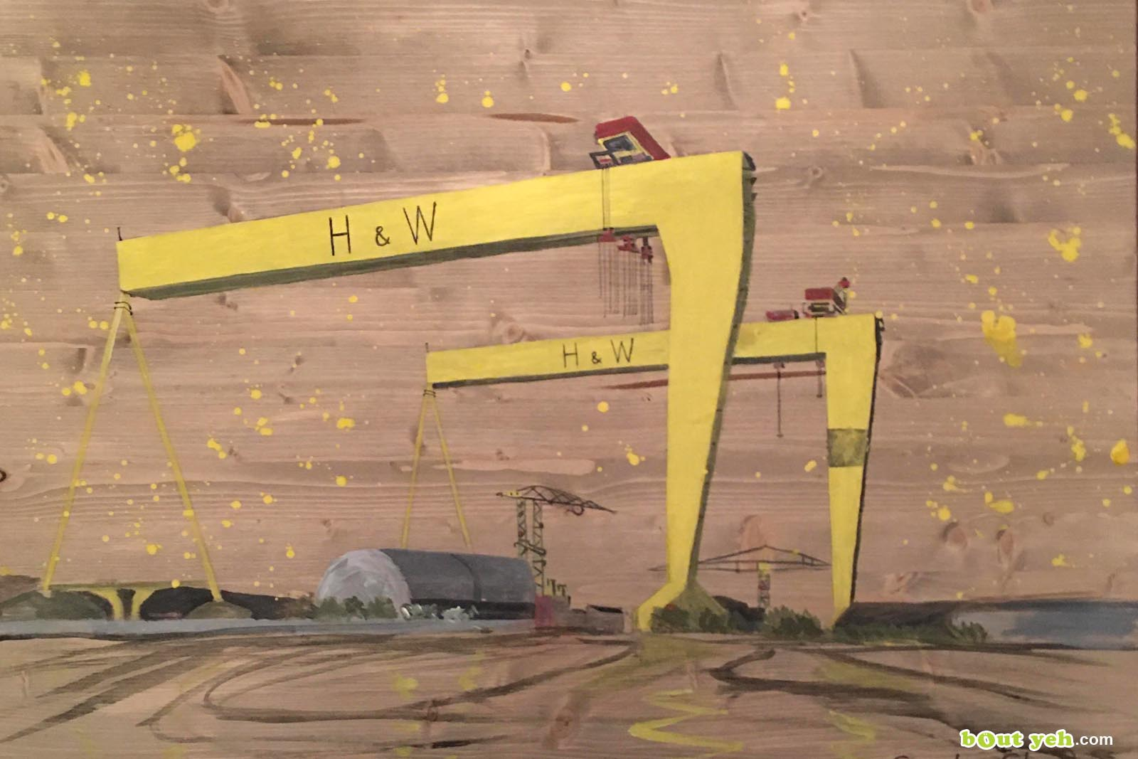 Painting of Harland and Wolff cranes by Sandra Shaw - photo shared by Bout Yeh photography and video production Belfast