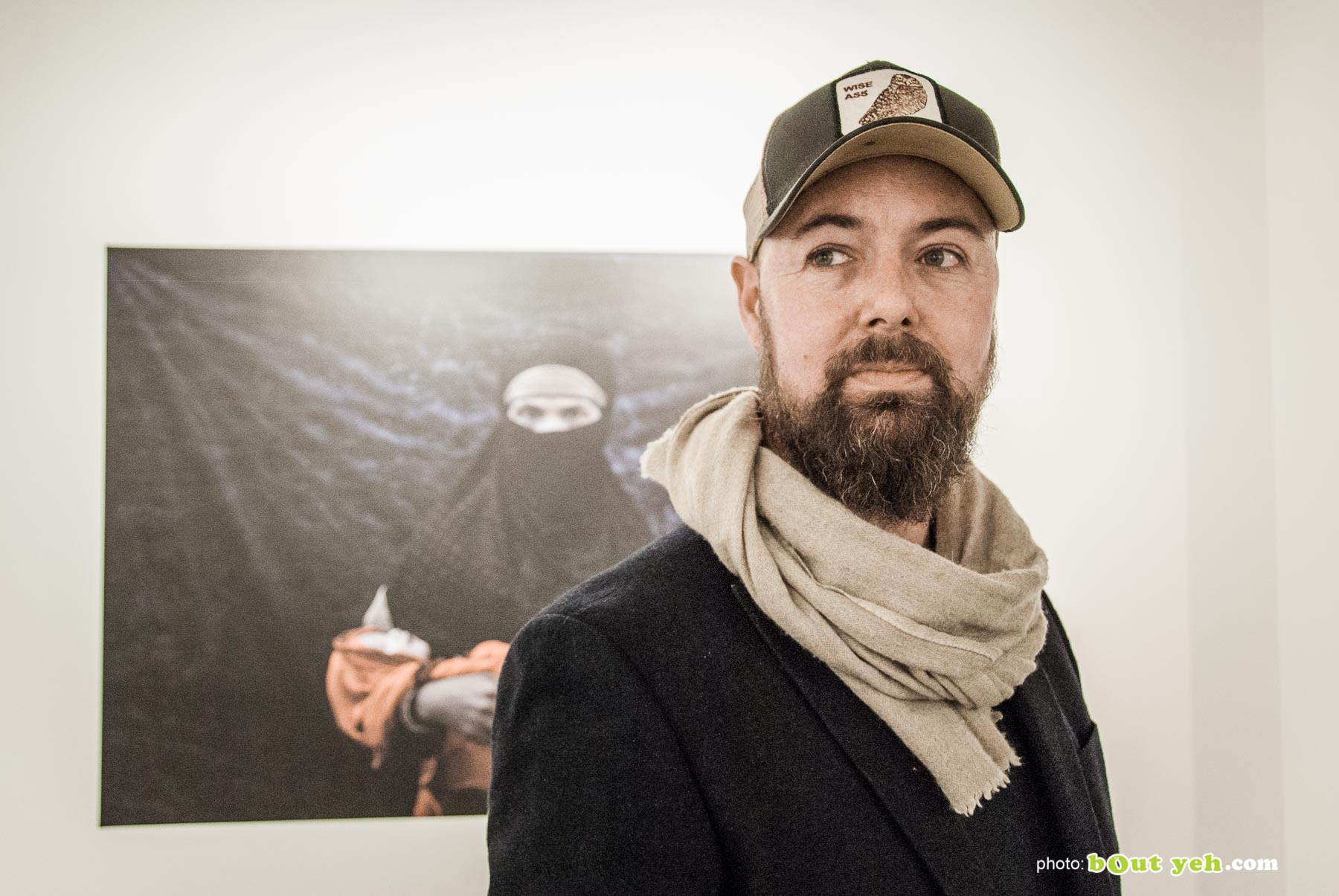 Rohingya - pulitzer prize winning photographer Cathal McNaughton at his exhibition of photographs at Belfast Exposed documenting the Rohingya. Photo 0664.