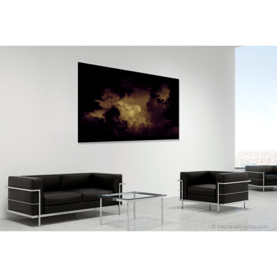 Wonderworld - limited edition photo in room setting of clouds over Cave Hill Belfast by photographer Stephen S T Bradley