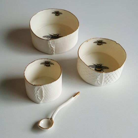 Irish Ceramics Stonewear Porcelain Ramekin Dish with Gold Lustre Rim by Red Earth Designs 133306