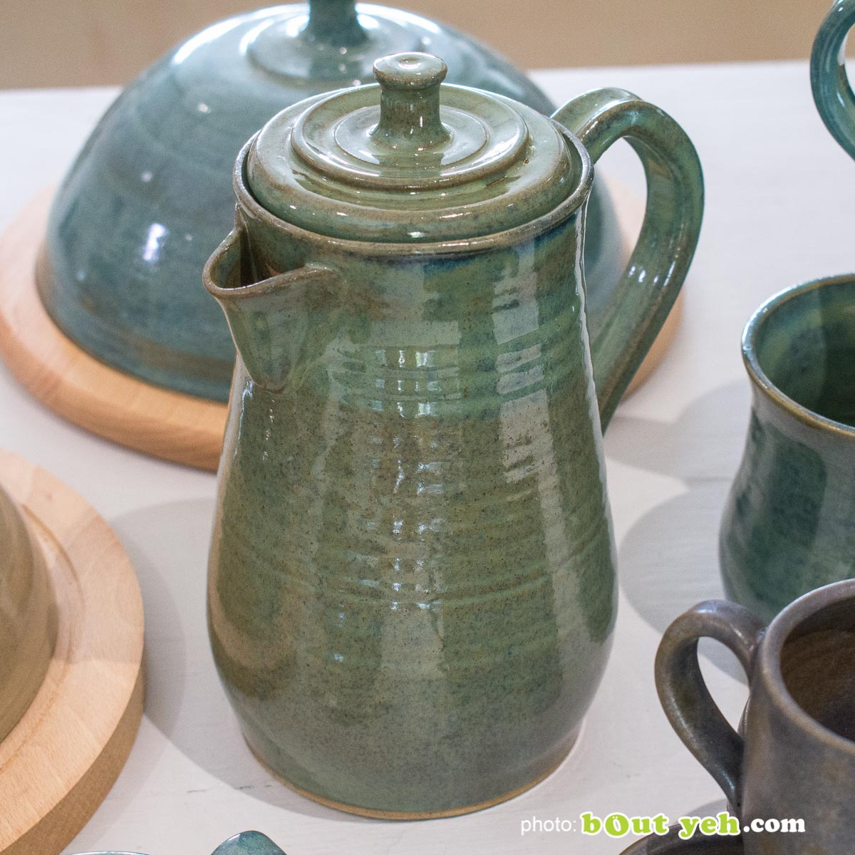 Contemporary hand made Irish pottery - tiffany blue and green coffee pot from Bout Yeh arts and crafts gallery Belfast and Dublin. Photo 1443