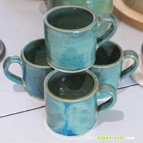 Contemporary Irish homeware ceramics - tiffany blue and green straight sided espresso mug and saucer, photo 1450