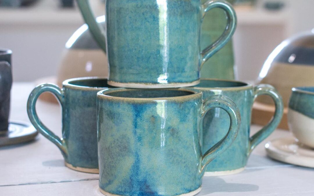 Tiffany blue green straight sided espresso mug and saucer