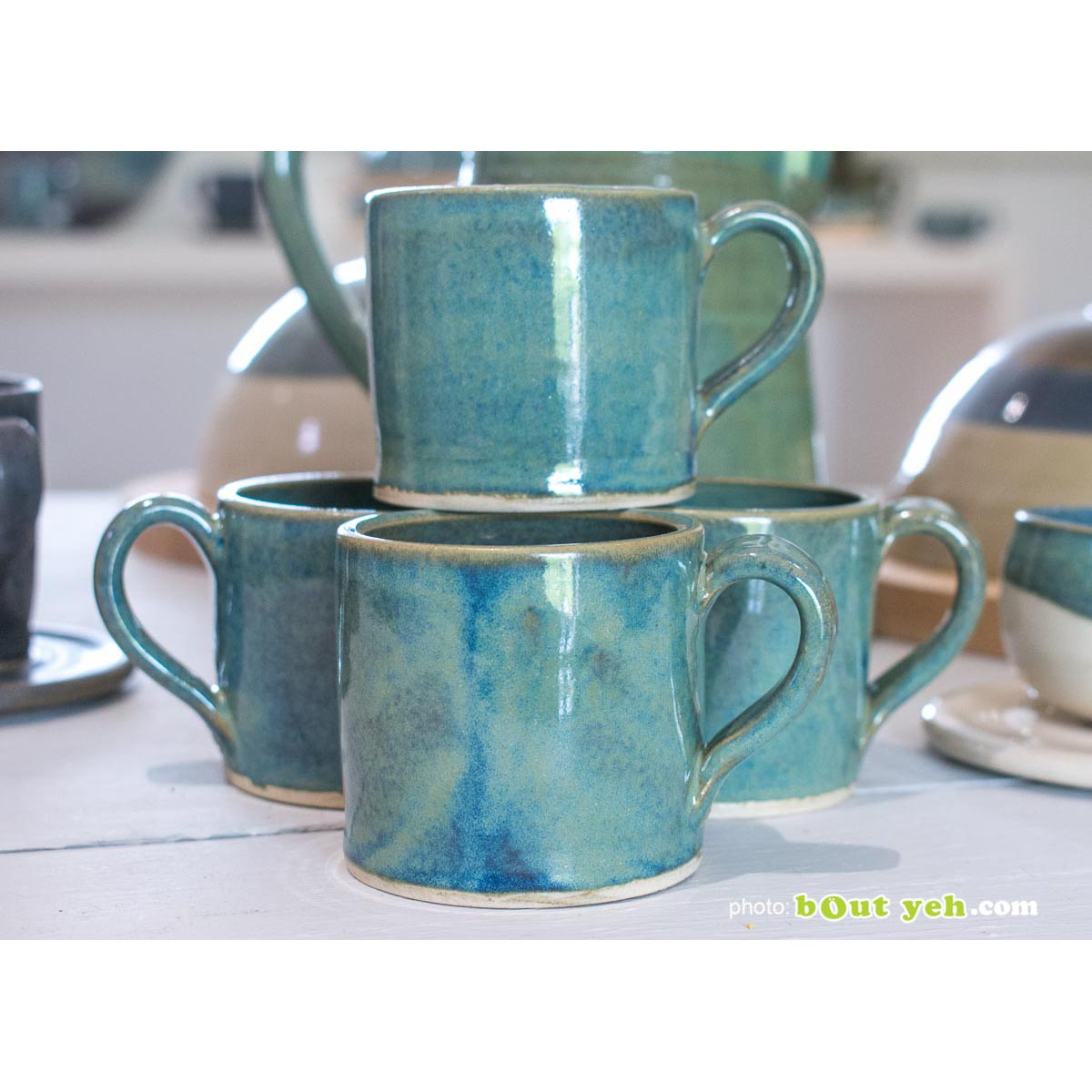 Contemporary hand made Irish pottery - tiffany blue and green straight sided espresso mug and saucer, from Bout Yeh arts and crafts gallery Belfast and Dublin, photo 1451