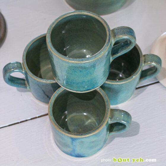 Contemporary Irish homeware ceramics - tiffany blue and green straight sided espresso mug and saucer, photo 1453