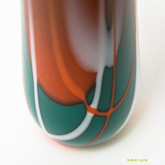 Contemporary green, white, orange tulip vase - Irish glassware photo 1 2