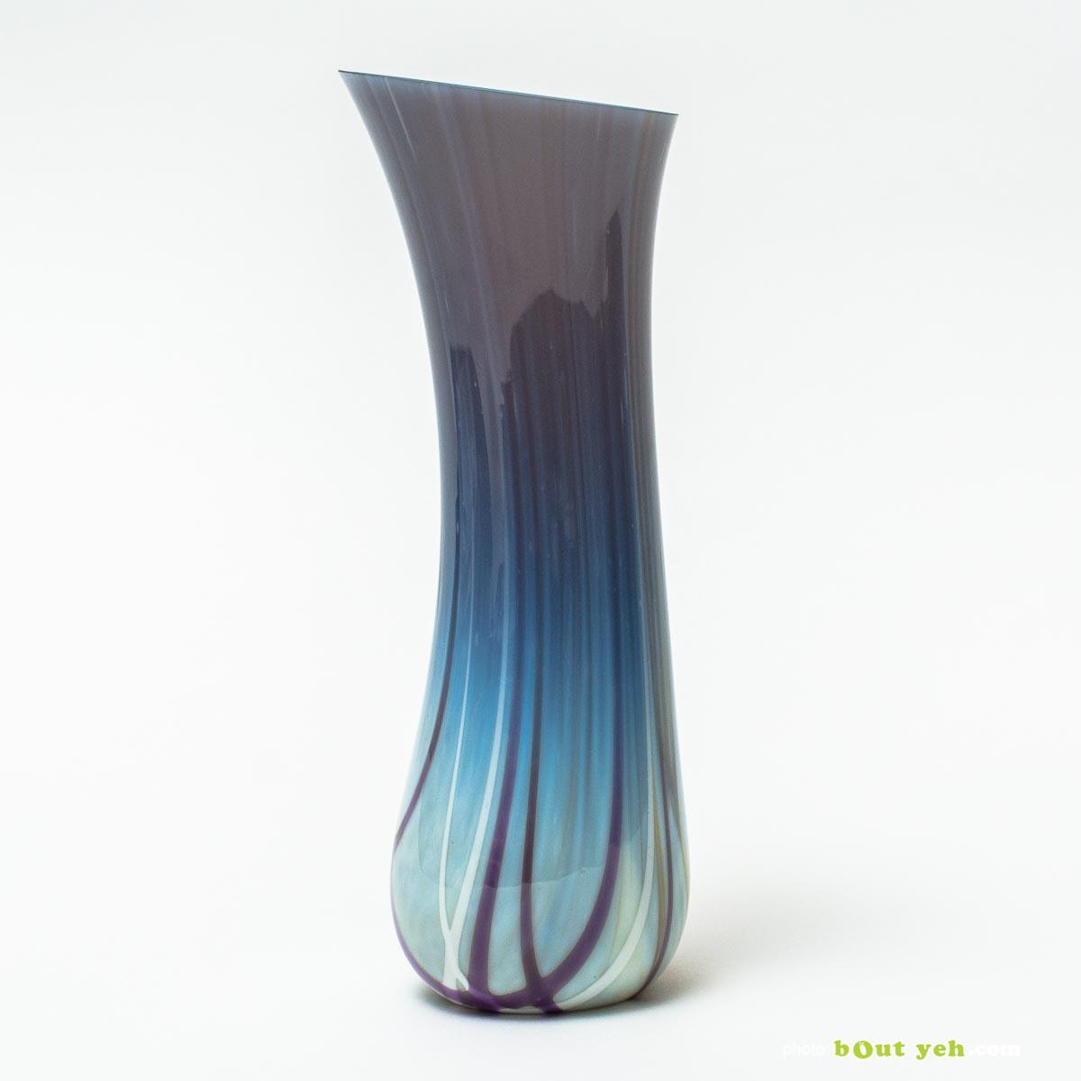 Contemporary hand made bullseye grey tulip vase by Chris Sheppard Irish glassware - photo TV003