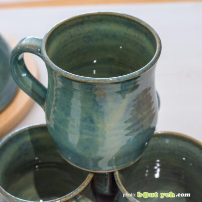 Contemporary Irish homeware ceramics - tiffany blue and green curve-sided mug, photo 1461