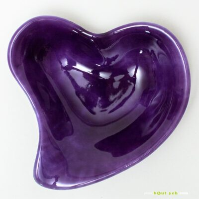 Gold purple opal heart shaped bowl with infused copper - Irish glassware. Photo 1603