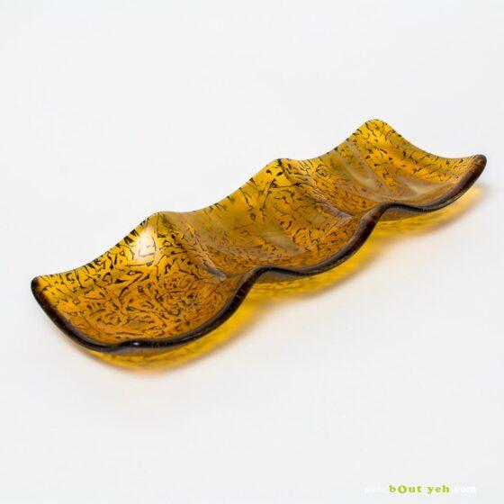 Streaky mid amber and white wisps hand made glass plate - Irish Glassware photo 1584